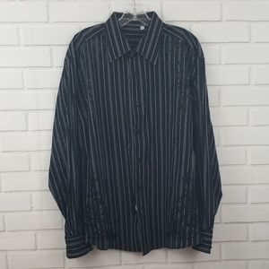 191 Unlimited Striped Applique Button Down Shirt